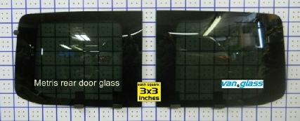 Metris rear door windows on sizing grid